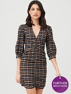 v-by-very-ruched-front-mini-dress-check