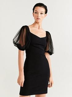mango-dobby-puff-sleeve-dress-black