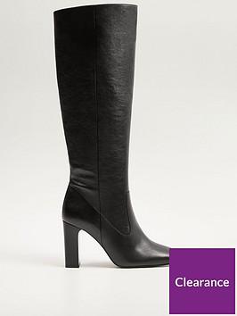 mango-leather-knee-boots-black