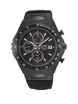 Seiko Seiko Seiko Macchina Sportiva Black Chronograph Dial Black Silicone  ... Picture