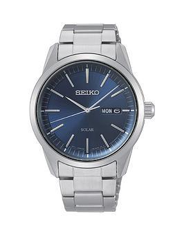 Seiko Seiko Seiko Blue Sunray Daydate Solar Dial Stainless Steel Bracelet  ... Picture