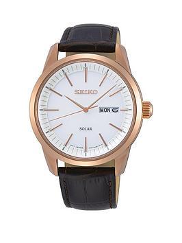 Seiko Seiko Seiko White And Rose Gold Detail Daydate Dial Black Leather  ... Picture