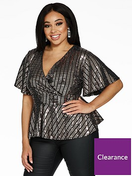 quiz-curve-sequin-wrap-peplum-top-silver