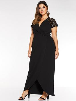 Quiz Curve Quiz Curve Cap Sleeve Lace Wrap Maxi Dress - Black Picture