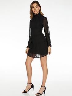quiz-high-neck-tunic-dress-with-mesh-balloon-sleeve-black