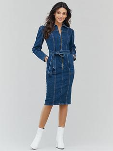 michelle-keegan-zip-front-denim-shirt-dress-indigo