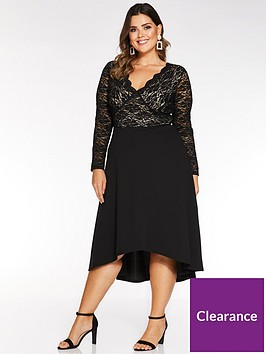 quiz-curve-sequin-lace-long-sleeve-dip-hem-dress-black