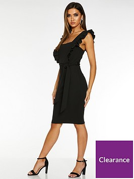 quiz-scuba-crepe-frill-tie-belt-midi-dress-black