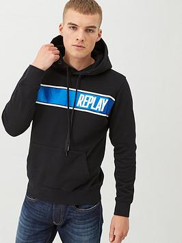 Replay Replay Foil Logo Overhead Hoodie - Black Picture