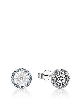 Disney Disney Disney Frozen Ii Crystal Snowflake Aquamarine Stud Earrings Picture