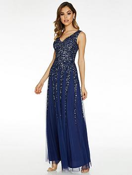 Quiz Quiz Sequin Embellished V-Neck Sleeveless Maxi Dress - Blue Picture