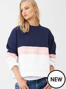 tommy-jeans-colour-block-crew-neck-sweat-top-multi