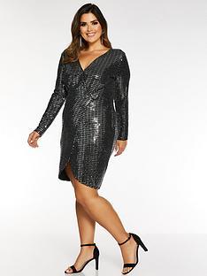 quiz-curve-wrap-over-sequin-dress-black