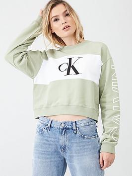 Calvin Klein Jeans Calvin Klein Jeans Statement Crew Neck Sweatshirt - Sage Picture