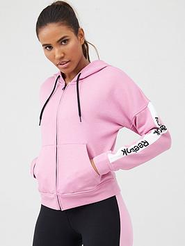 Reebok Reebok Training Essentials Linear Logo Full Zip Hoodie - Pink Picture