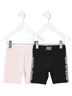 river-island-mini-mini-girls-2-pack-cycling-shorts--blackpink