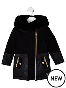 river-island-mini-mini-girls-faux-fur-trim-parka-jacket-black