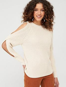 V by Very V By Very Double Split Sleeve Jumper - Oatmeal Picture