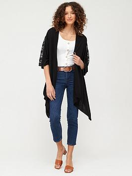 V by Very V By Very Waterfall Cardigan With Lace Trim - Black Picture