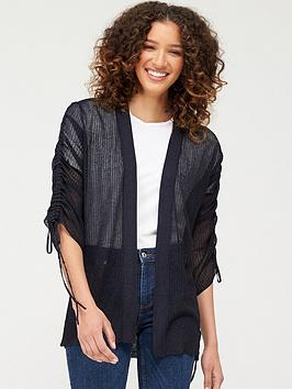 V by Very V By Very Mesh Ruched Sleeve Cardigan - Navy Picture