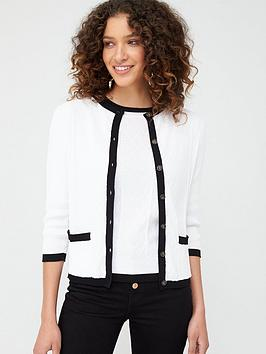 V by Very V By Very Mono Button Up Short Cardigan - Monochrome Picture