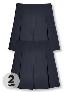 V by Very V By Very Girls 2 Pack Classic Pleated School Skirts - Navy Picture