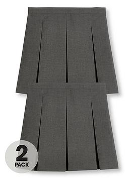 V by Very V By Very Girls 2 Pack Classic Pleated School Skirts Plus - Grey Picture