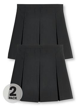 V by Very V By Very Girls 2 Pack Classic Pleated School Skirts Plus - Black Picture