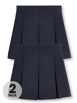 V by Very V By Very Girls 2 Pack Classic Pleated School Skirts Plus - Navy Picture
