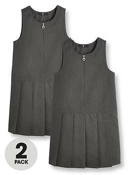 V by Very V By Very Girls 2 Pack Pleat School Pinafore - Grey Picture
