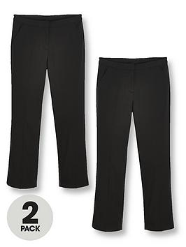V by Very V By Very Girls 2 Pack Woven School Trouser Plus - Black Picture