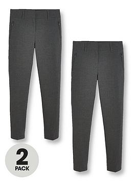 V by Very V By Very Girls 2 Pack Skinny School Trousers - Grey Picture