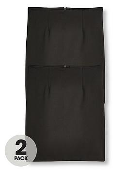 V by Very V By Very Girls 2 Pack Woven Pencil School Skirt - Black Picture