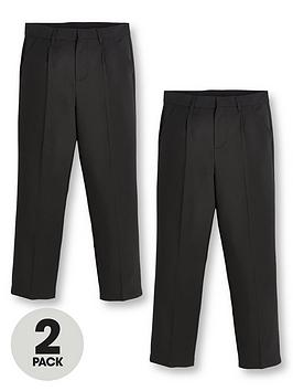 V by Very V By Very Boys 2 Pack Classic Woven Regular School Trousers Picture