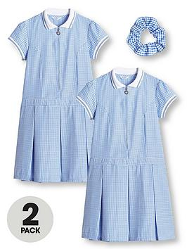 V by Very V By Very Girls 2 Pack Rib Collar Gingham School Dress - Blue Picture