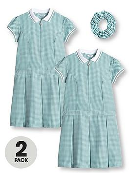 V by Very V By Very Girls 2 Pack Rib Collar Gingham School Dress - Green Picture