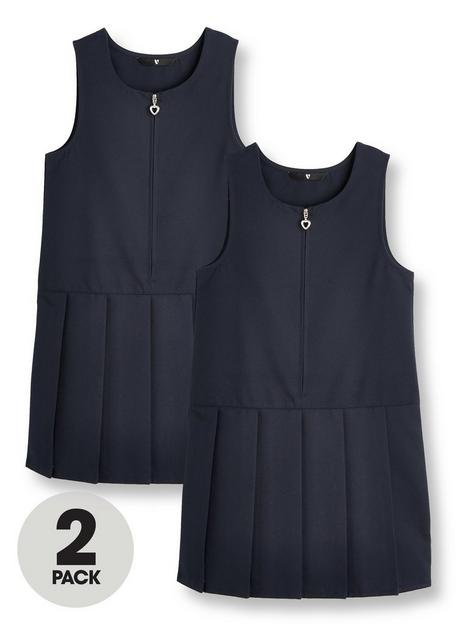 v-by-very-girls-2-pack-pleat-pinafore-water-repellent-schoolnbspdressesnbsp--navy