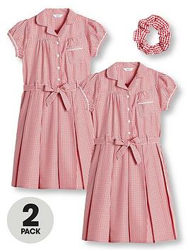 V by Very V By Very Girls 2 Pack Traditional Gingham School Dress - Red Picture