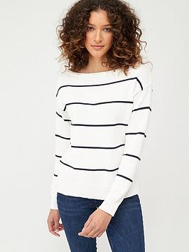 V by Very V By Very Stripped Slash Neck Knitted Jumper - Monochrome Stripe Picture