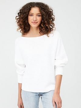 V by Very V By Very Off The Shoulder Knitted Jumper - White Picture