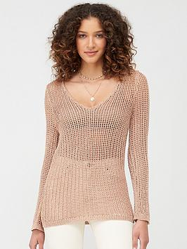V by Very V By Very Open Knit Tie Back Metallic Top - Rose Gold Picture
