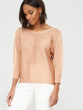 V by Very V By Very Long Sleeve Knitted Top - Metallic Picture