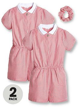 V by Very V By Very Girls 2 Pack Gingham School Playsuit - Red Picture