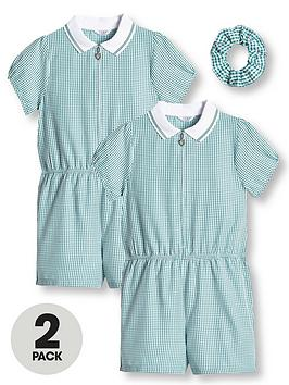 V by Very V By Very Girls 2 Pack Gingham School Playsuit - Green Picture