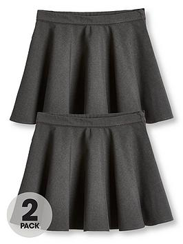 V by Very V By Very Girls 2 Pack Woven Skater School Skirts - Grey Picture