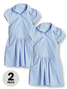 v-by-very-girls-2-pack-drop-waist-gingham-water-repellentnbspschool-dress-blue