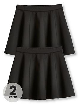 V by Very V By Very Girls 2 Pack Woven Skater School Skirts - Black Picture