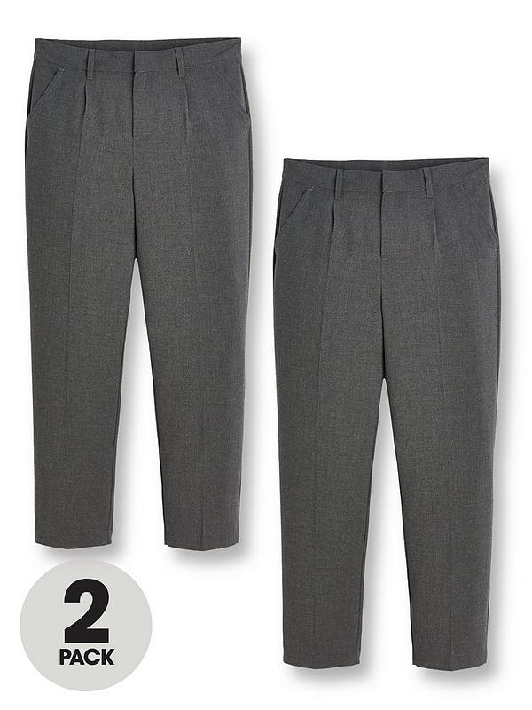 Boys School Regular Fit Trousers Grey or Black sizes Age 3-16 Adjustable Waist