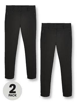 V by Very V By Very Girls 2 Pack Skinny School Trousers - Black Picture
