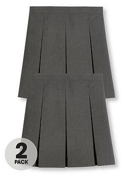 V by Very V By Very Girls 2 Pack Classic Pleated School Skirts - Grey Picture